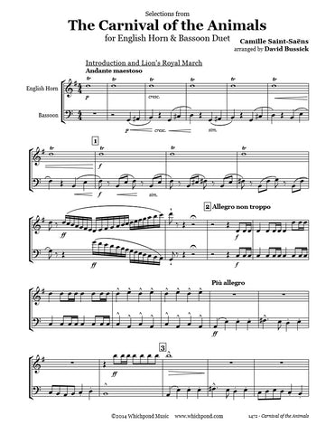 Carnival of the animals english hornbassoon duet whichpond music carnival of the animals english hornbassoon duet ccuart Choice Image