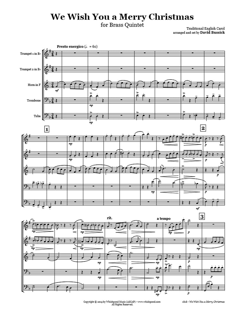 We Wish You A Merry Christmas Brass Quintet – Whichpond Music