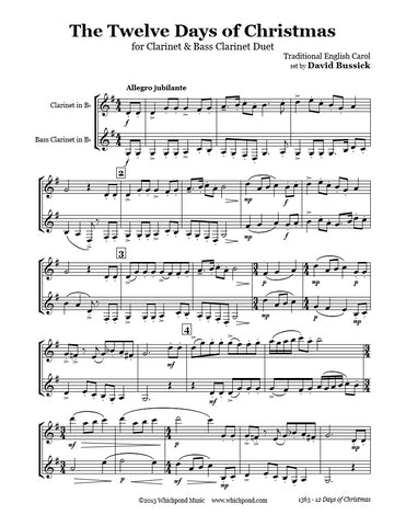 12 Days Of Christmas Sheet Music.12 Days Of Christmas Clarinet Duet