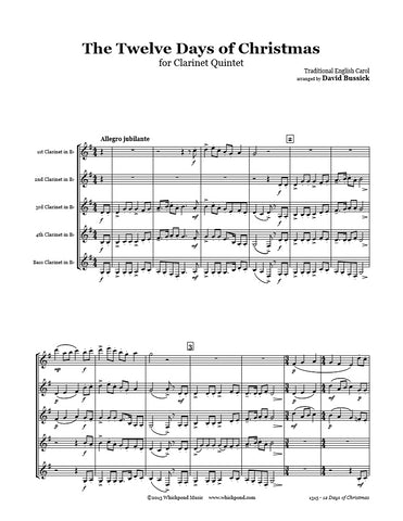 12 Days Of Christmas Clarinet Quintet