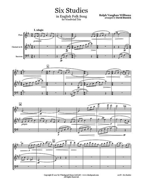 Vaughan Williams 6 Studies Flute/Clarinet/Bassoon Trio