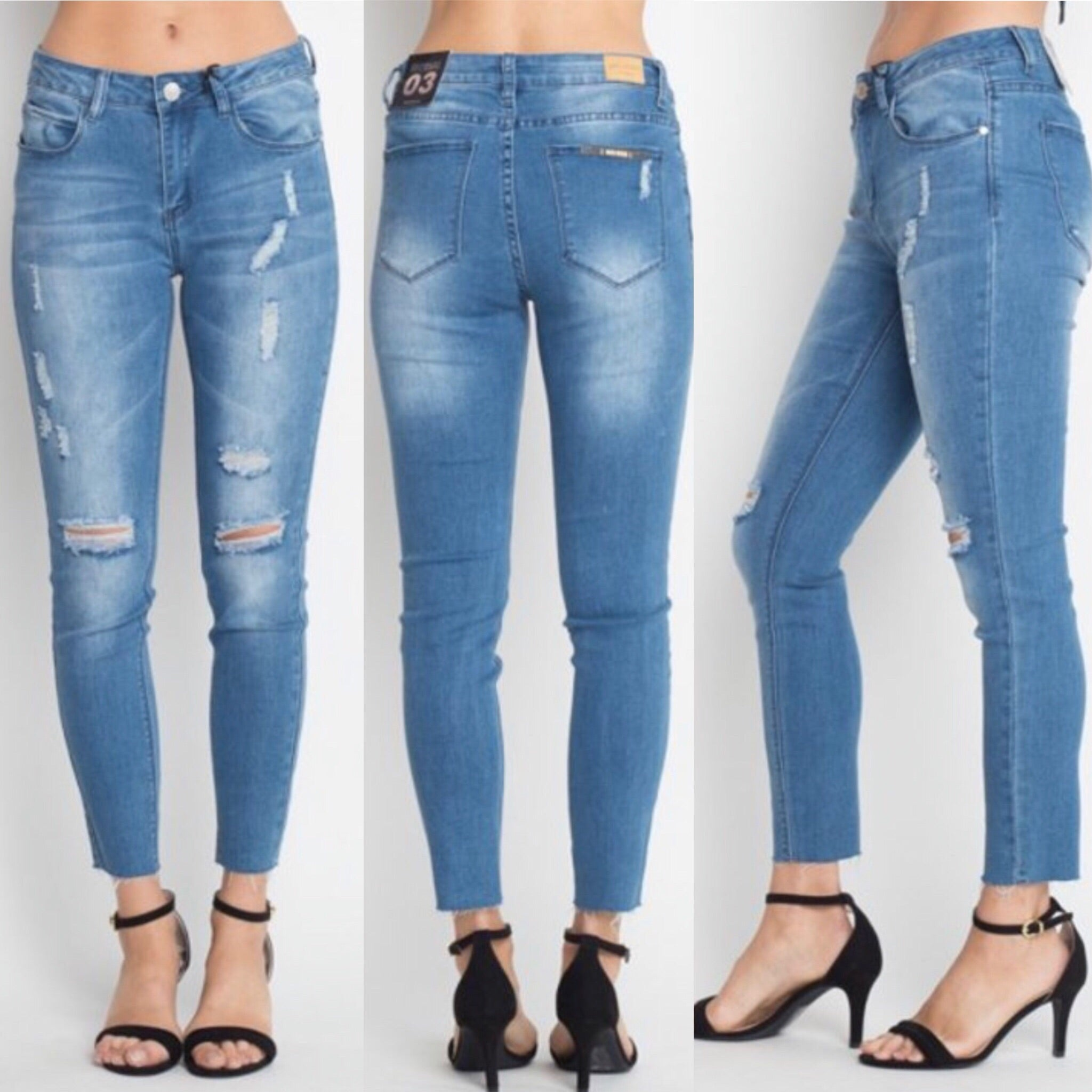 Avery Skinny Crop Jeans - Med. Denim