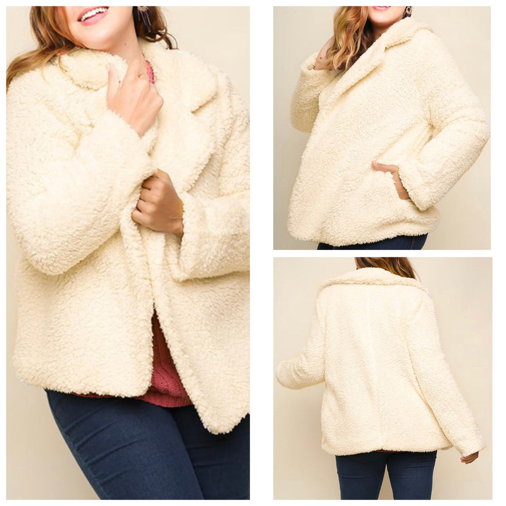Cream Open Lapel Teddy Jacket - Plus Size (XL-1XL)
