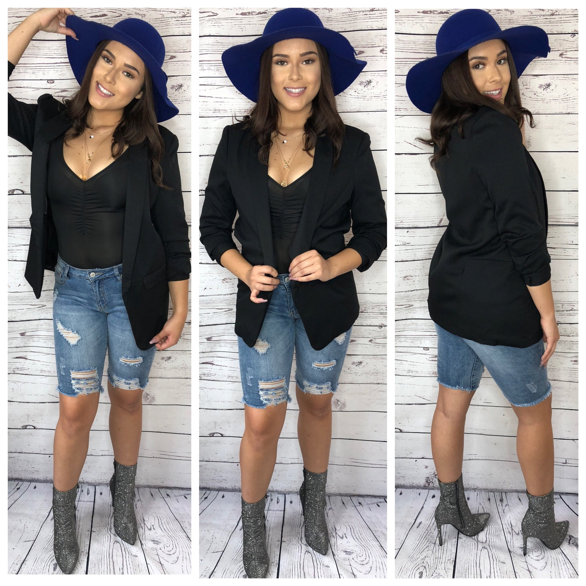 Evie 3/4 Sleeve Long Blazer - Black (S&M)