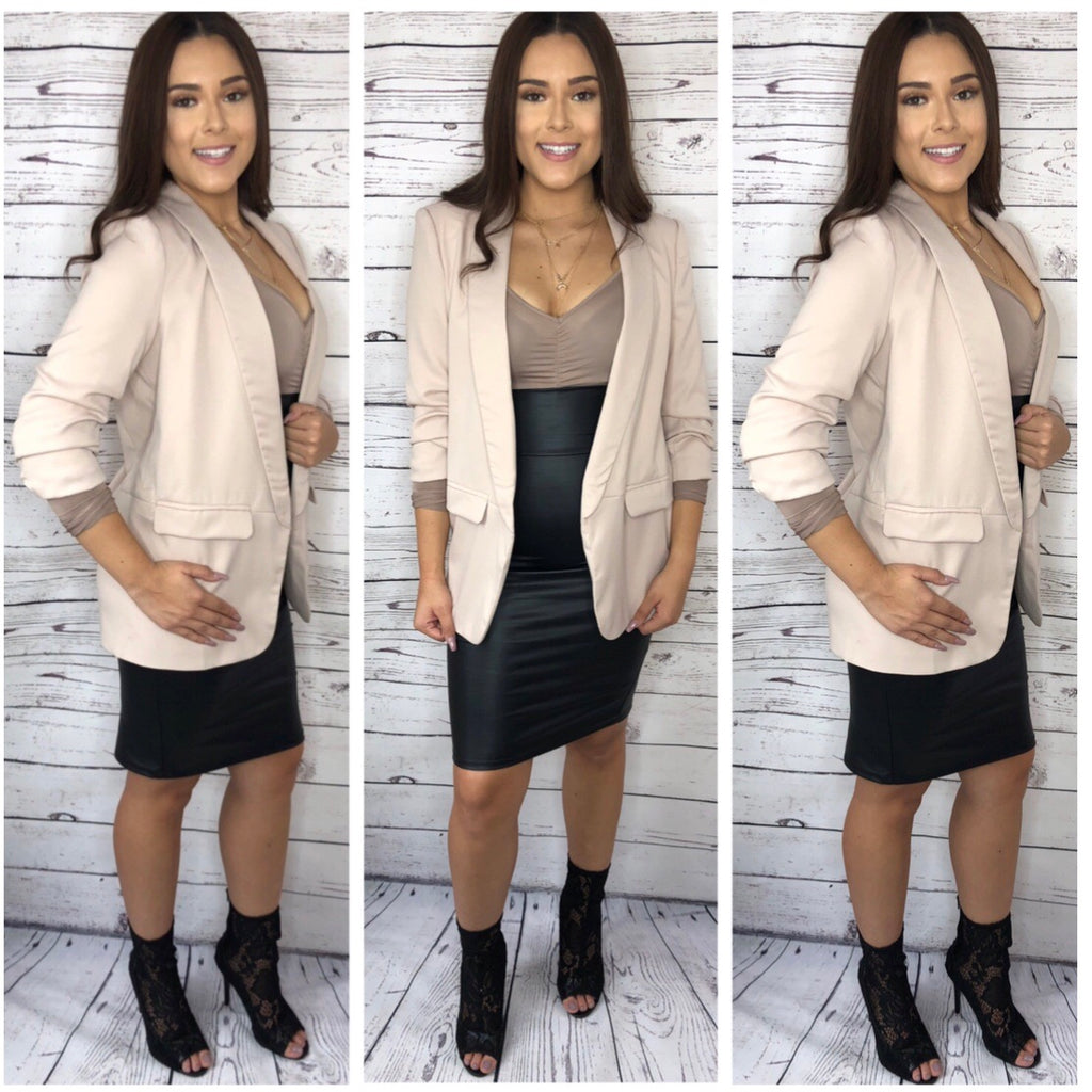 Evie 3/4 Sleeve Long Blazer - Taupe