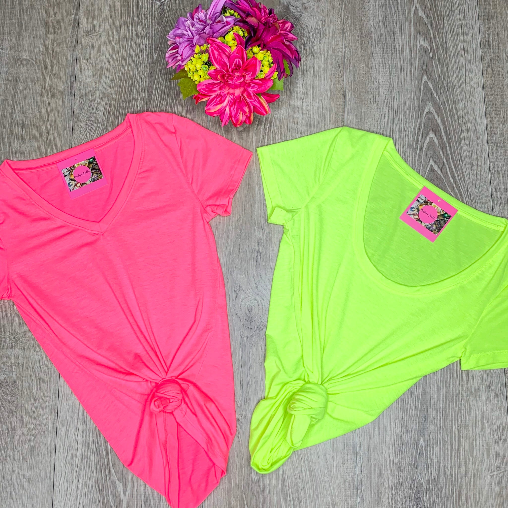 Glow Scoop Neck Top - Neon Green (S&M)