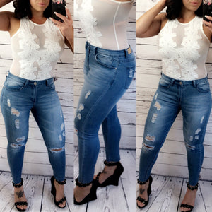 Avery Skinny Crop Jeans - Med. Denim (1,3,5)