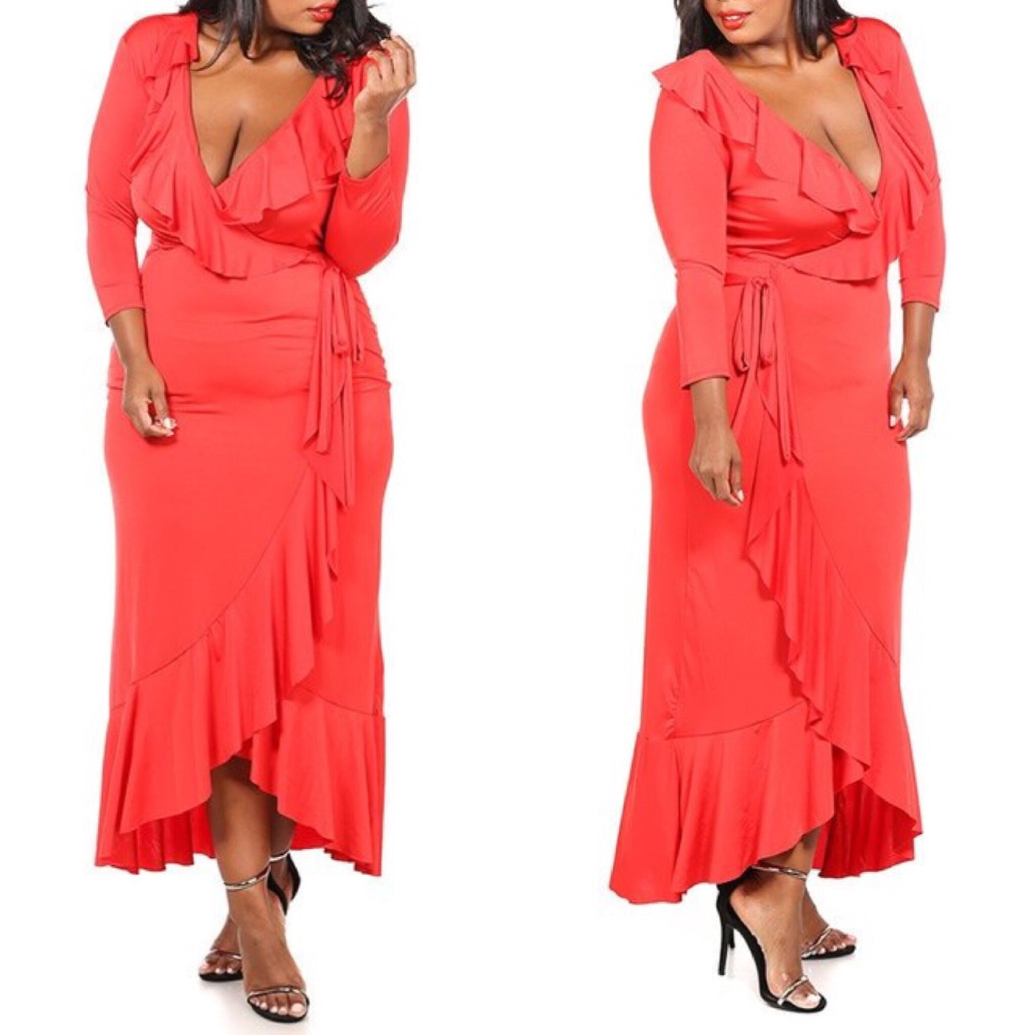 Beverly Ruffle Maxi Dress (Red) - Plus Size