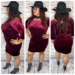 Rose Off The Shoulder 3/4 Sleeve Velvet Dress - Plus Size