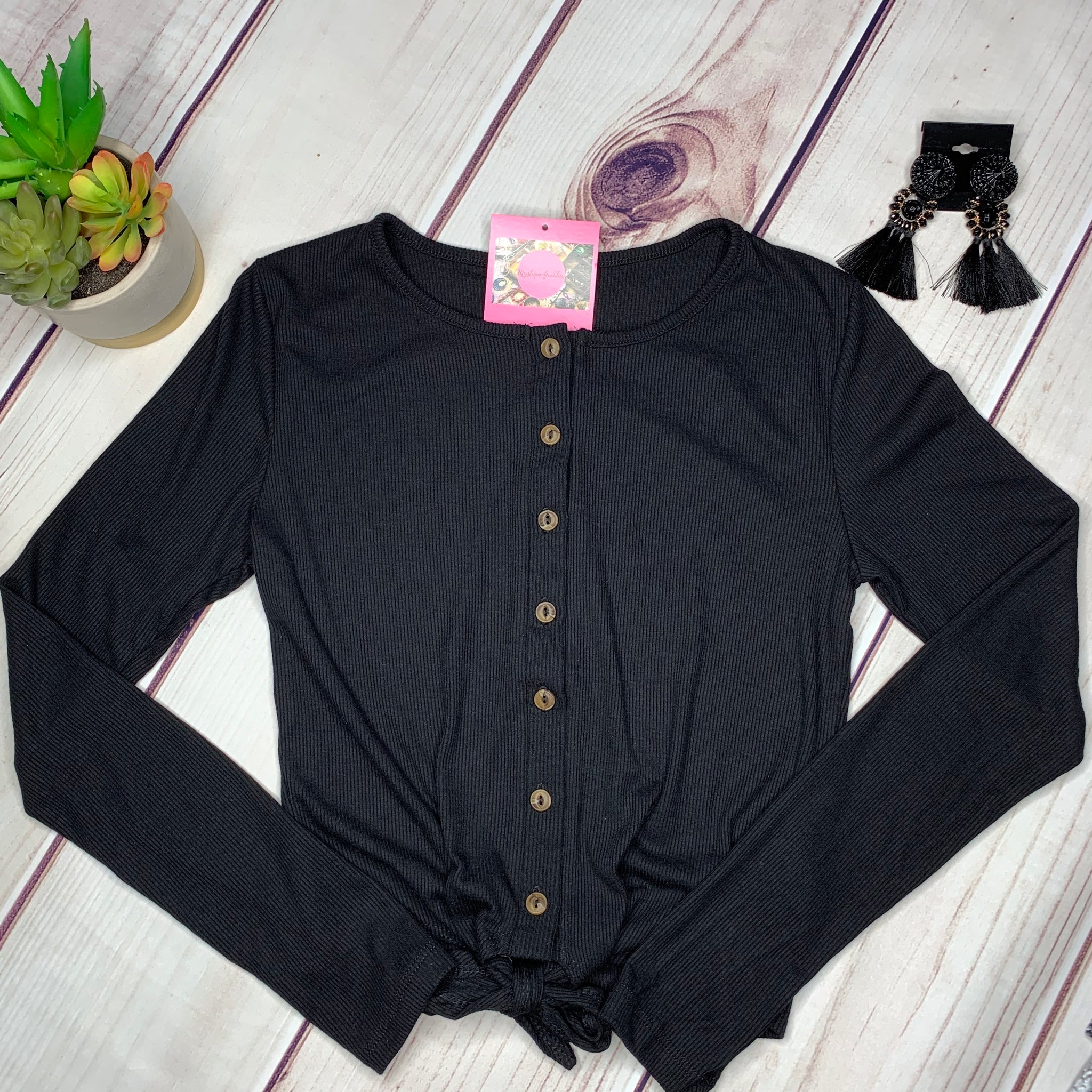 Button Down Knotted Long Sleeve Top - Black (S&M)