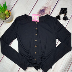 Button Down Knotted Long Sleeve Top - Black