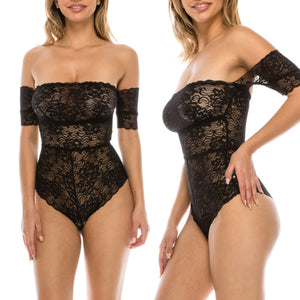 Gisele Lace Bodysuit - Black