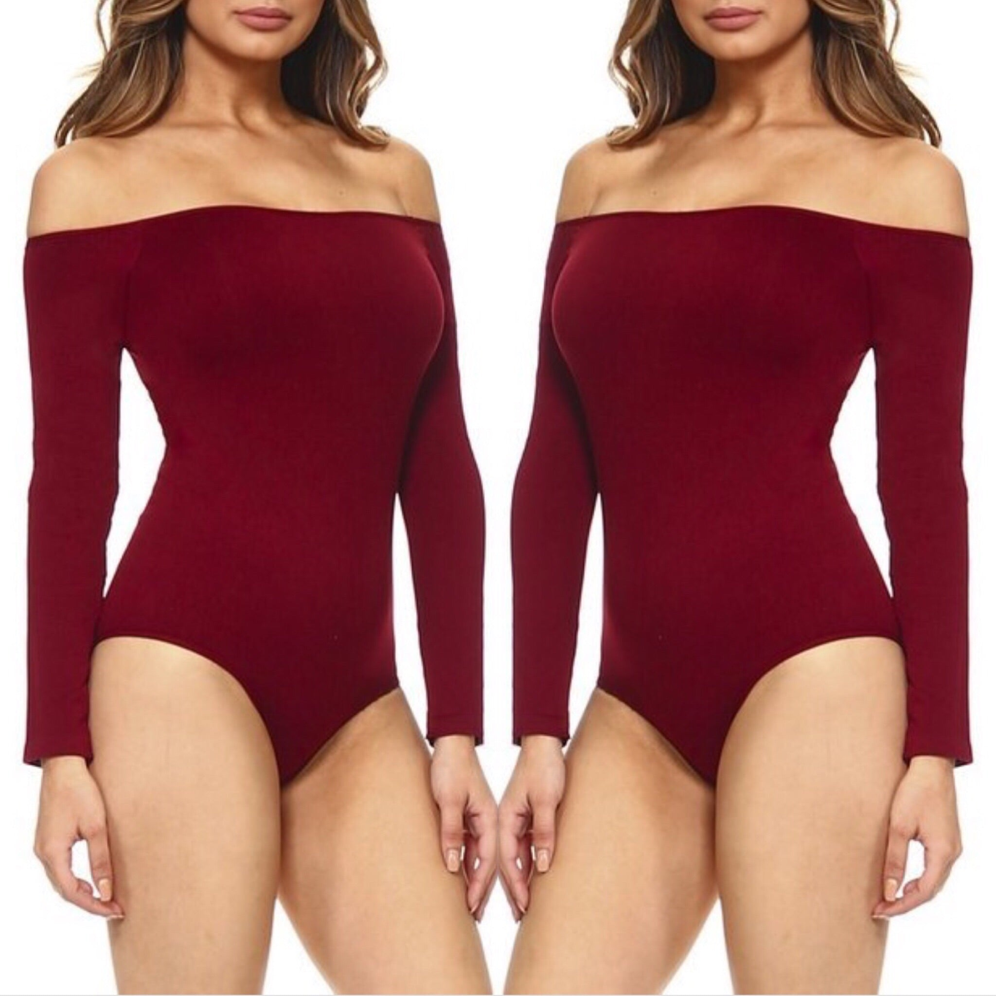 Seductive Off Shoulder Long Sleeve Bodysuit - Wine Red