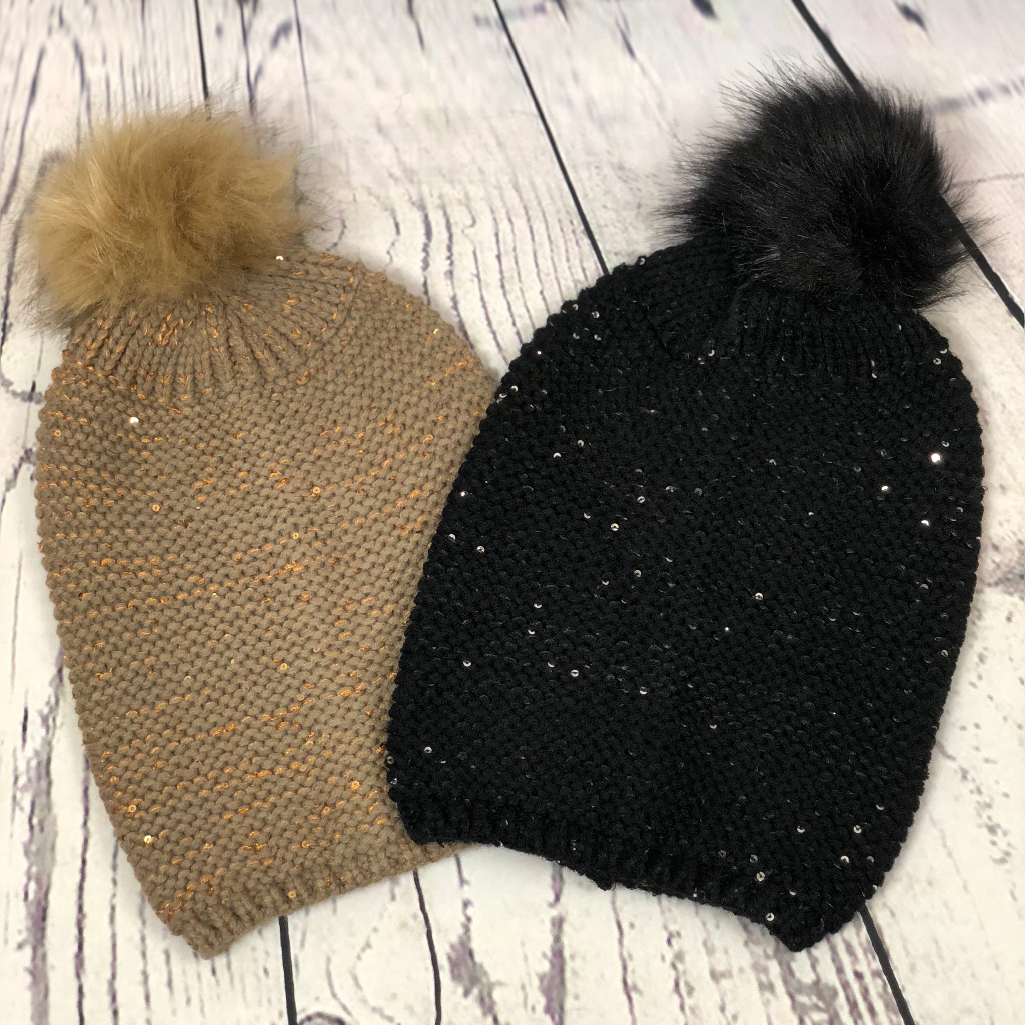 """Baby It's Cold Outside"" Sequin Accent Pom Pom Beanie - Mocha"