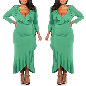 Beverly Ruffle Maxi Dress (Green) - Plus Size