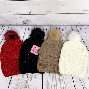 """Baby It's Cold Outside"" Sequin Accent Pom Pom Beanie - Ivory"