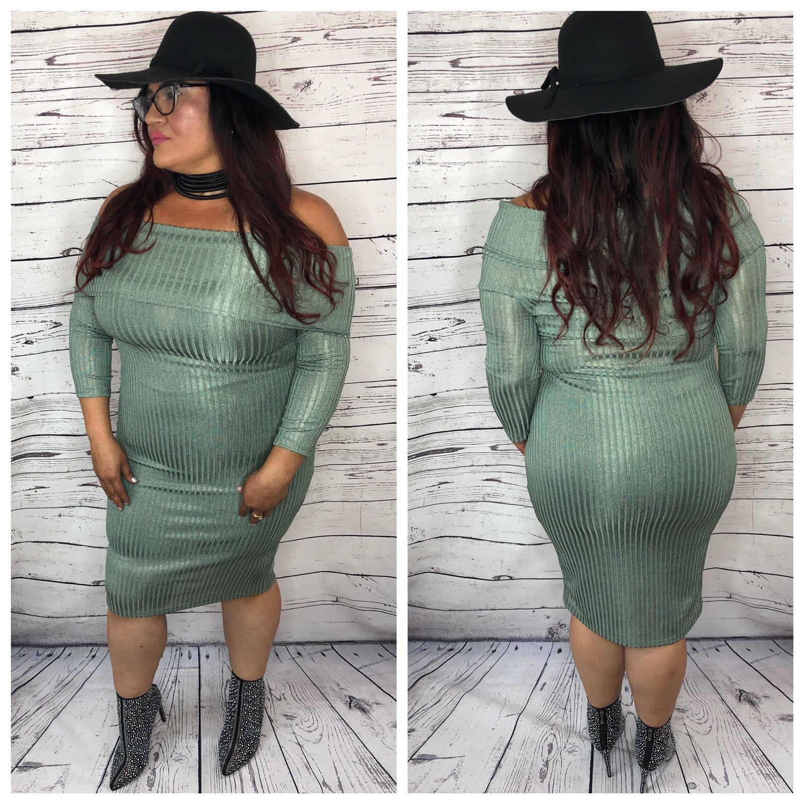 Amber Off The Shoulder Metallic Ribbed Bodycon Dress - Plus Size