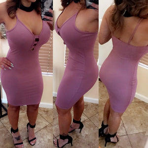 Lila Midi Dress- Dark Mauve