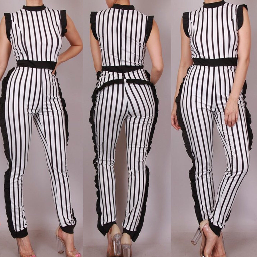 Cardi Striped Ruffle Detail Jumpsuit - Plus Size (White)