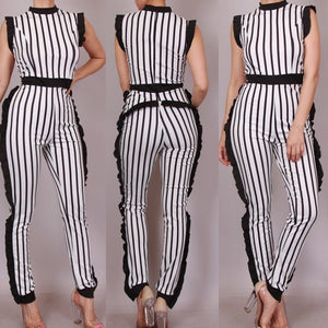 Cardi Striped Ruffle Detail Jumpsuit - Plus Size 1XL (White)