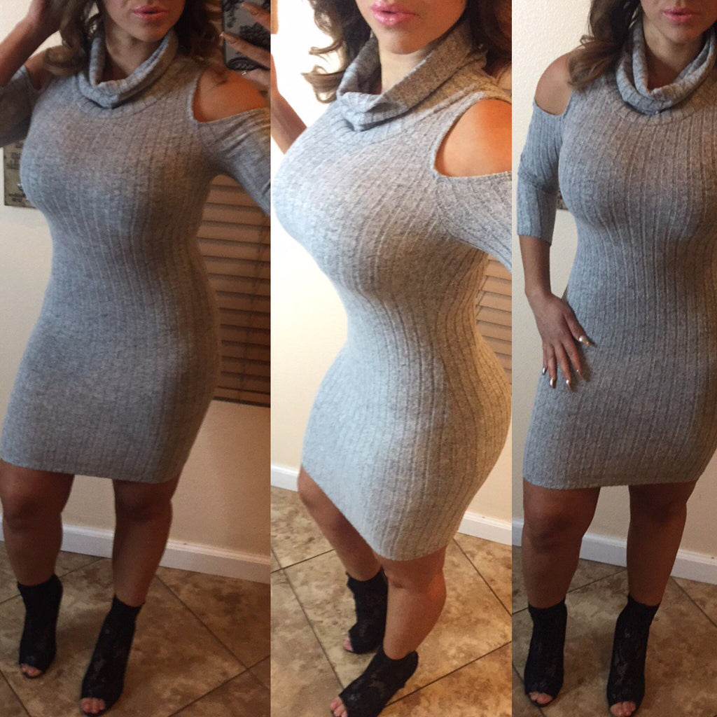 Adrena Sweater Dress - Heather Gray