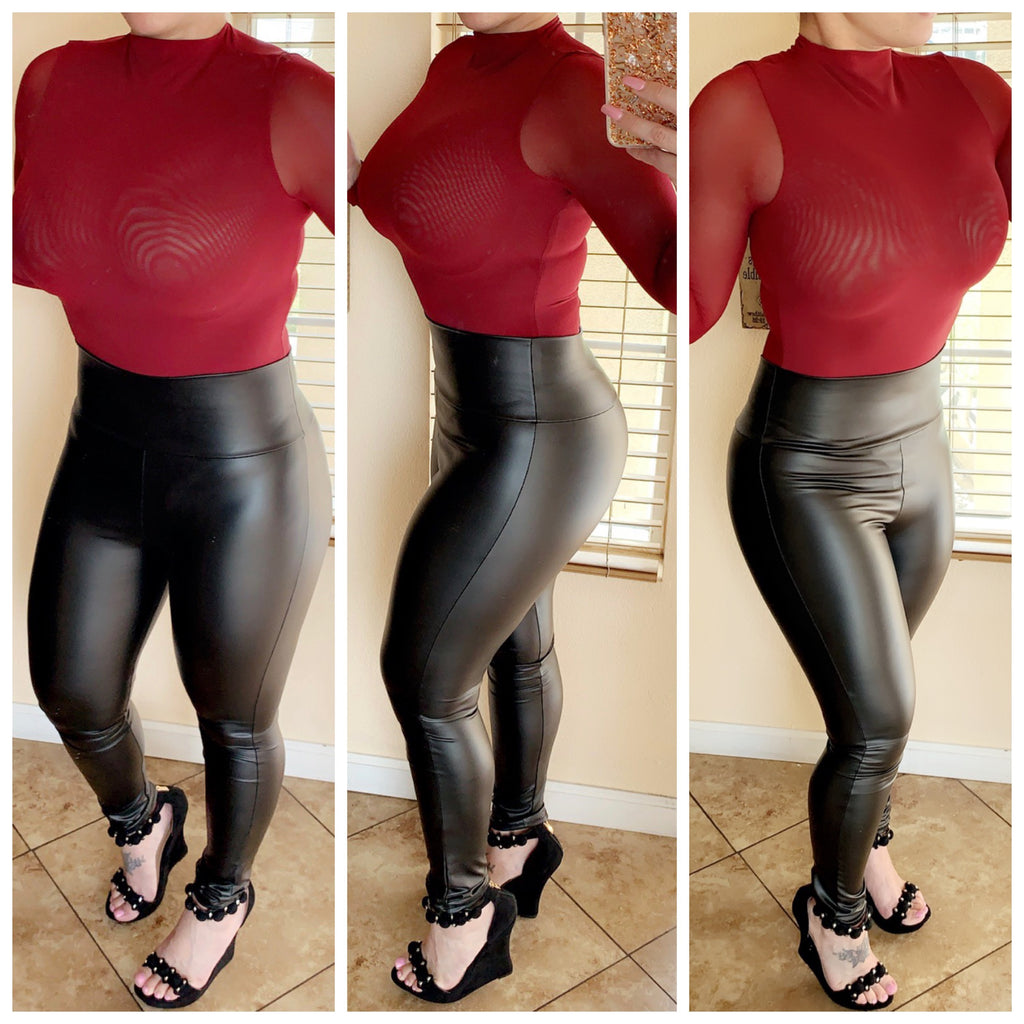 Melody Sheer Long Sleeve Bodysuit - Burgundy (Medium)