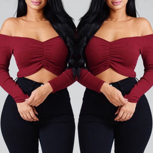 Keira Long Sleeve Crop Top - Burgundy