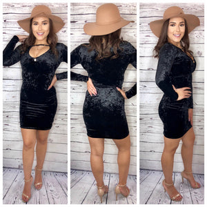Ashley Velvet Long Sleeve Bodycon Dress - Black