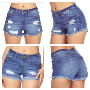 Destroyed Denim Lifting Shorts - Light Blue