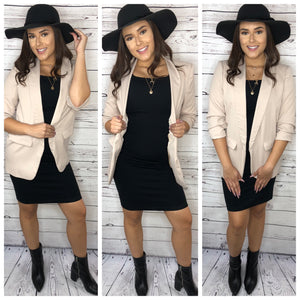 Evie 3/4 Sleeve Long Blazer - Taupe (M&L)