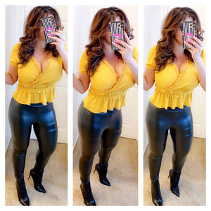 Mustard Ruched Top