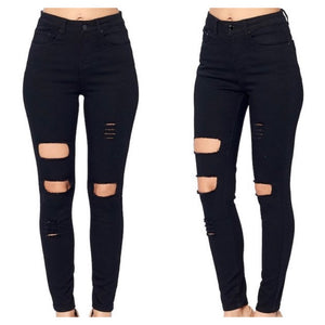 High Rise Destroyed Skinny Jeans - Black (1,3,9,13)