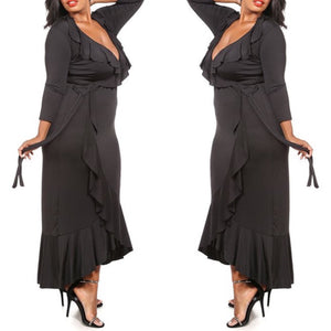 Beverly Ruffle Maxi Dress (Black) - Plus Size