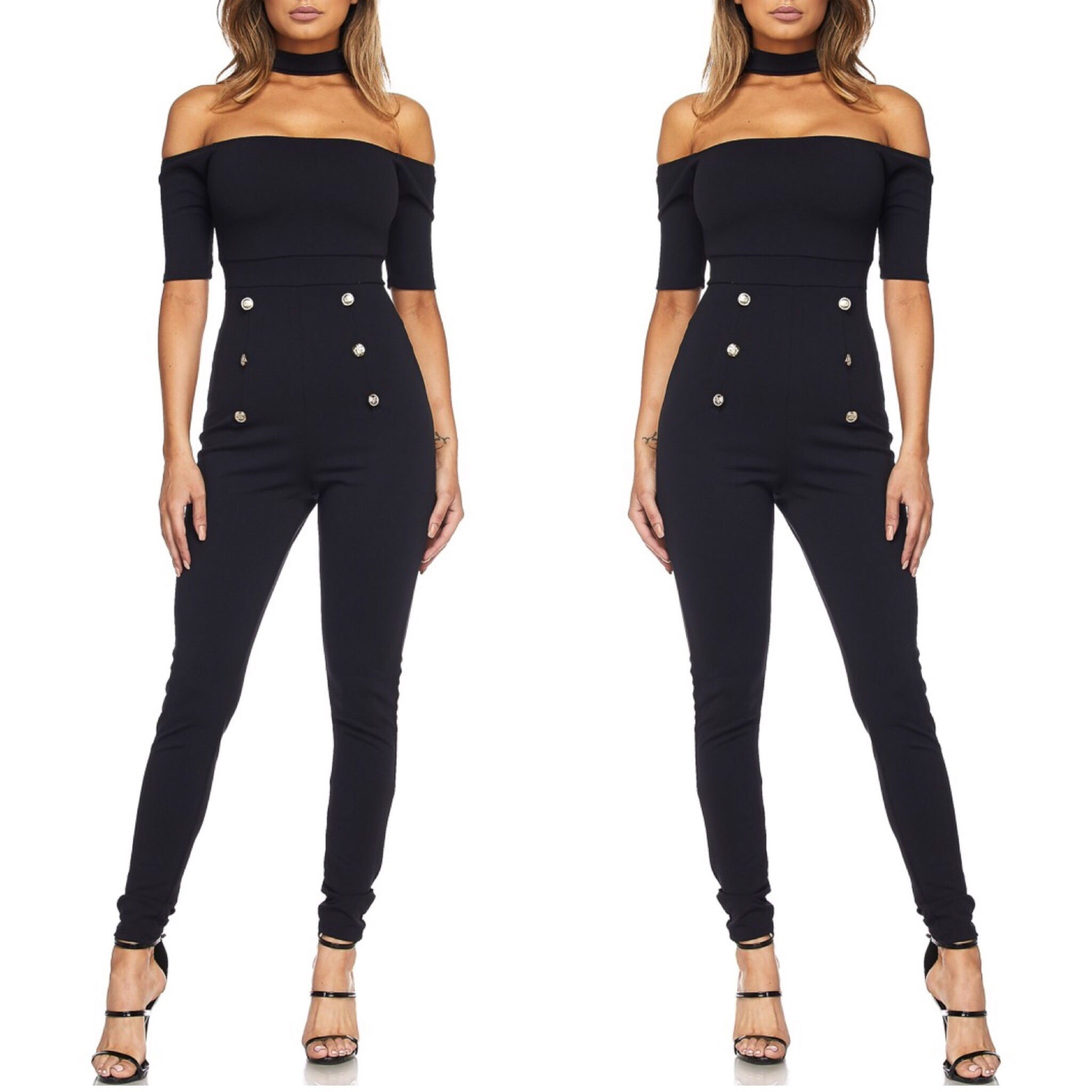 Fierce Off The Shoulder Jumpsuit - Black (S&M)