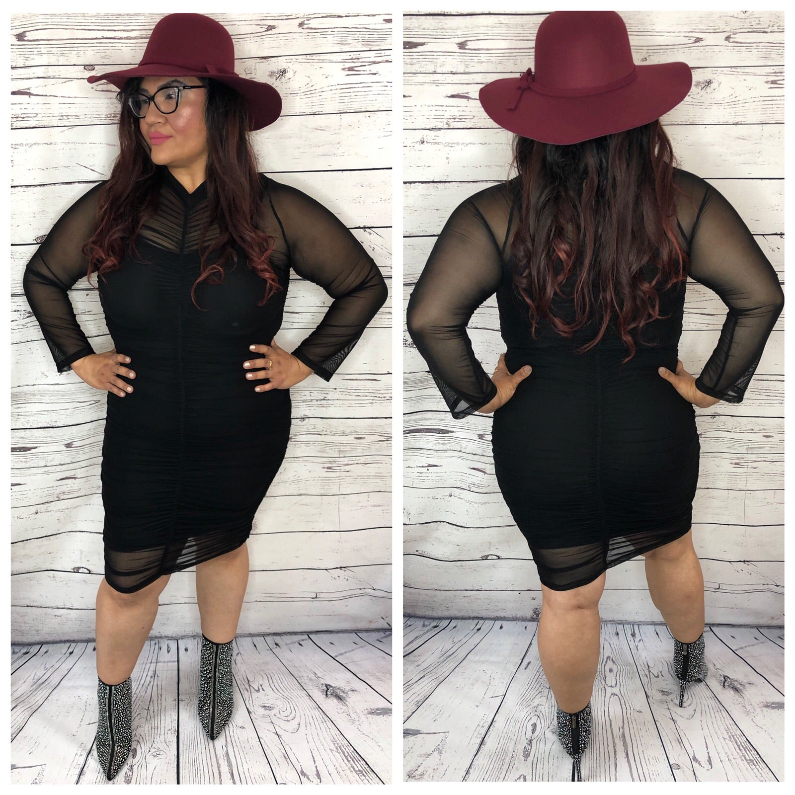 Adrina Mesh Wrinkle Dress - Plus Size