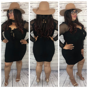 Brooke Mesh Wrinkle Off The Shoulder Dress - Plus Size