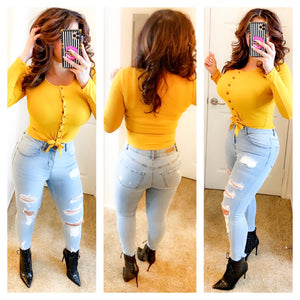 Button Down Knotted Long Sleeve Top - Mustard (S&L)