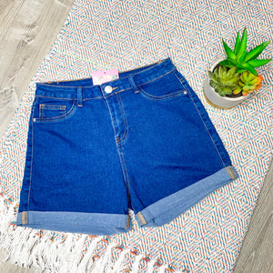 Time To Level Up High Waist Shorts - Medium Blue