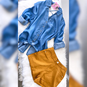 Time To Level Up High Waist Shorts - Mustard