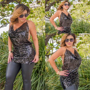 Black Sequin Open Back Top