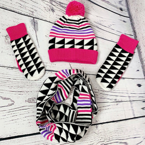 Women's 3 piece Pom Beanie, Scarf and Glove Set