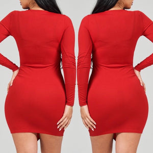 Juliana Long Sleeve Lace Me Up Dress (Red) - Plus Size