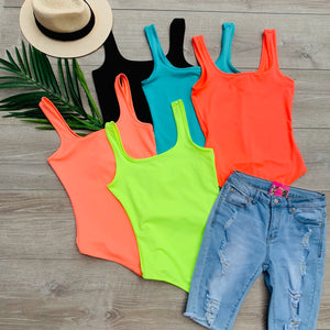 Pop of Color Neon Bodysuit - Jade (S&M)