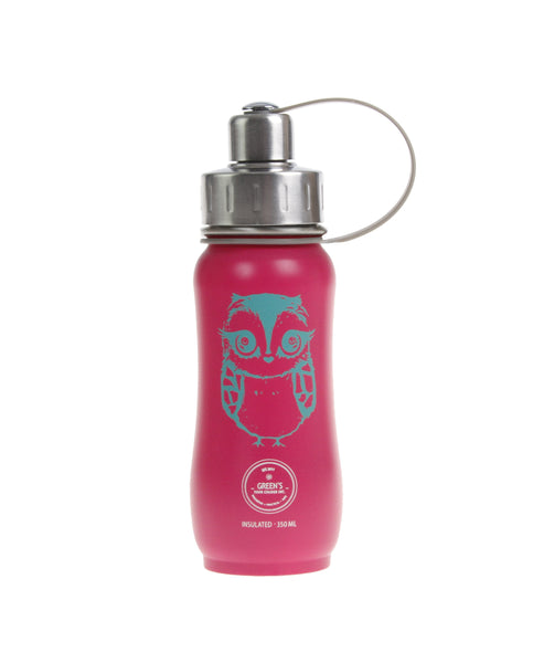 350 ml owl bottle, triple insulated stainless steel bottle, green's your colour bottle, gyc bottle, cute bottle, kids bottle, stylish bottle, best bottle for back-to-school 2019, best water bottle, camp bottles, leak proof bottles, bottles that don't sweat, easy to clean bottles, tea bottle, coffee bottles, bottles with strainers, Canadian bottle company, Sustainable bottles