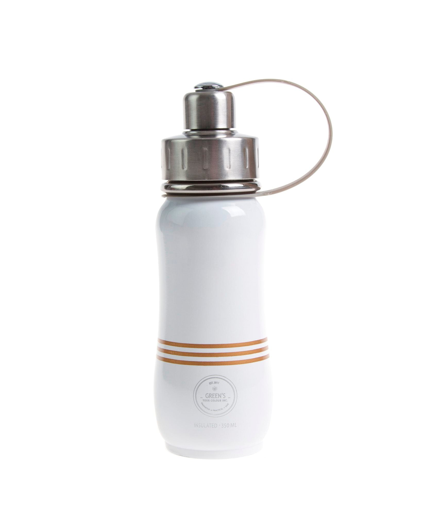 350 ml 'Champagne Bliss' limited edition stainless steel insulated water bottle greens your colour front