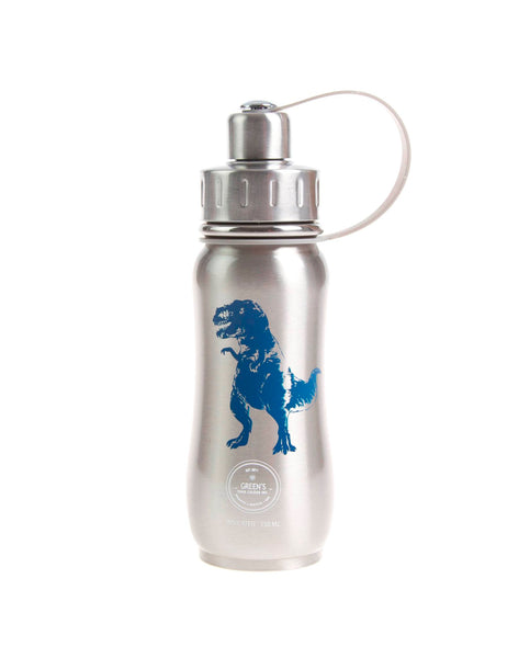350 ml 'Dino Stomper' Silver Blue Dinosaur insulated vacuum stainless steel water bottle greens your colour, gycbottle sustainable water bottle sustainable brand Canadian Sustainable products, best water bottles, stylish water bottles, hot and cold bottles, tea bottle, kids bottles, best kids bottles, bpa free bottles, leak proof bottles, best back to school bottles