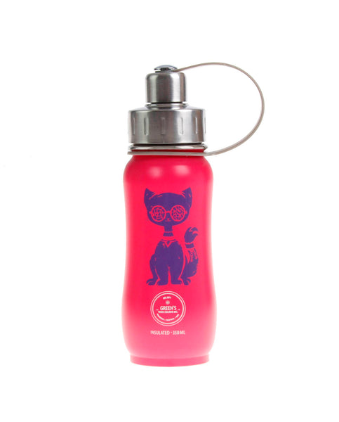 350 ml Pink Purple Jazzy Cat triple insulated vacuum stainless steel water bottle greens your colour