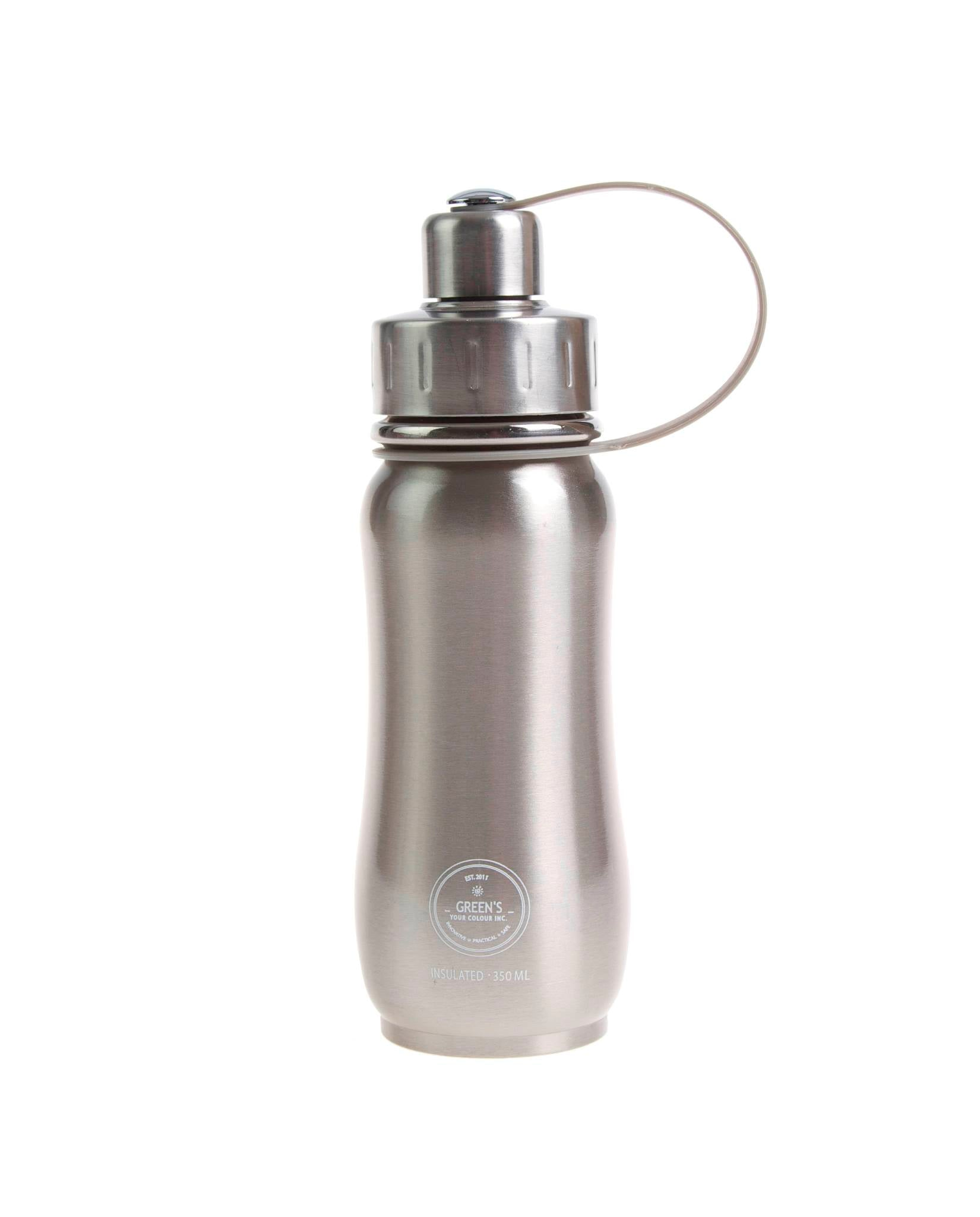 350 ml Tin Man classic collection triple insulated vacuum stainless steel water bottle for kids greens your colour silver lid