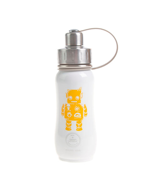 350 ml White-Out Robbie Robot triple insulated vacuum stainless steel water bottle greens your colour silver lid