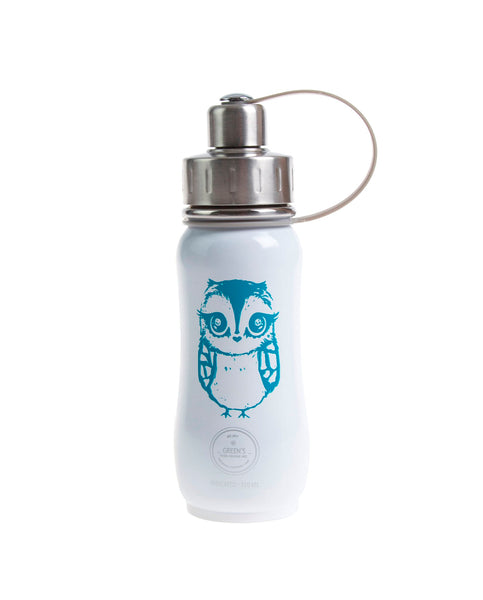 350 ml White Turquoise Twilight Owl triple insulated vacuum stainless steel water bottle for kids greens your colour owl bottle, owl water bottle, cute bottles, stylsih bottles, Canadian bottles, Canadian bottle distributor, best bottle, best water bottles, easy to clean bottles, kids bottles, school bottles, camp bottles, owls, Canadian business, green's your colour, Green's Your Colour, gycbottle, gyc bottle